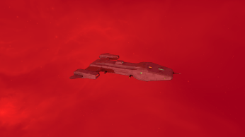 A military transport inside a gas cloud of the Orion Nebula.
