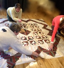 Stashers Working on Layout of BearPaw/Log Cabin Quilt