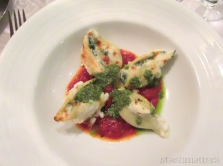 Pasta shells stuffed with spinach and cheese.