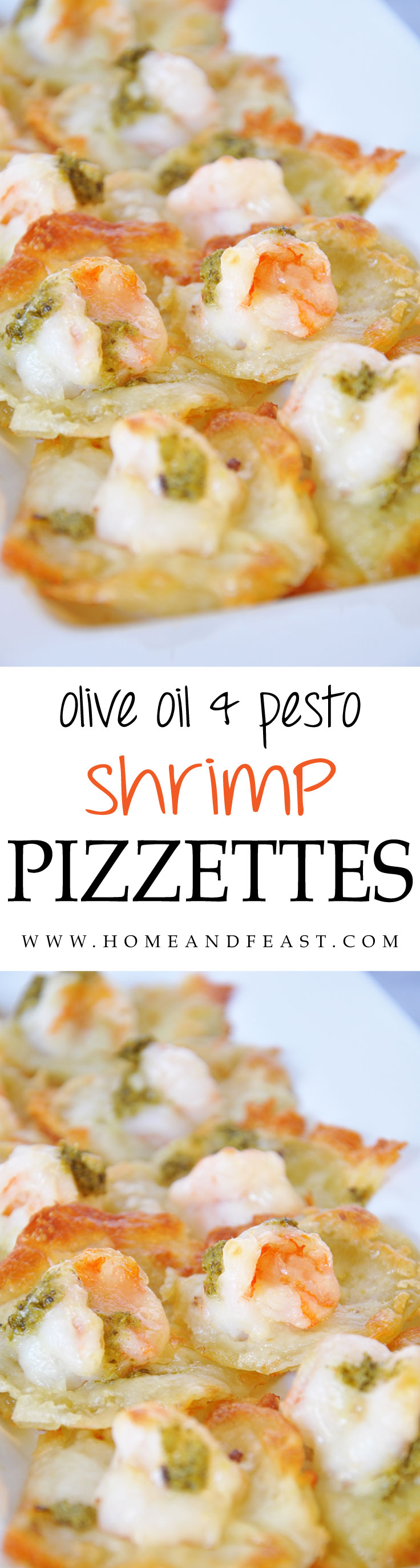 Easy Shrimp Pizzette Appetizer with Olive Oil and Pesto
