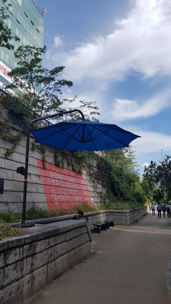 あの素敵な、街中の大きな日傘から見る今のソウル!癒されるわ~(///∇///)。   大人女子ひとり酒@ソウル ...