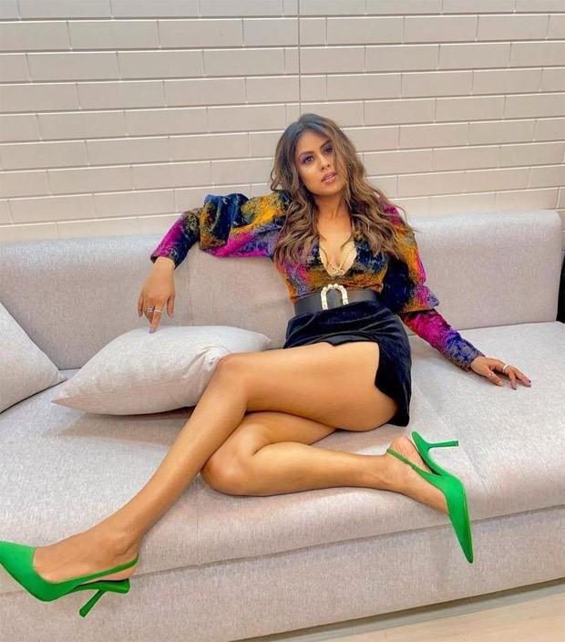 Nia Sharma looks smokin' hot in plunging neckline printed top and mini skirt