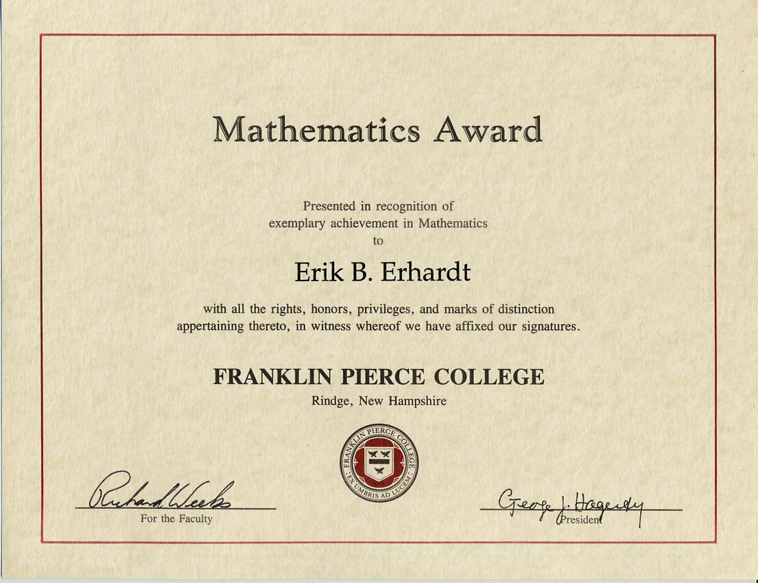Mathematics Award Franklin Pierce College 1995 1997