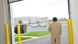 Groundbreaking guest gazes at new Dermody warehouse in Logan Township, NJ. (Steve Lubetkin photo)