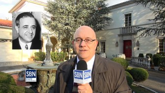 Steve Lubetkin reporting from 75 Bluff Road, Fort Lee, NJ, the house once owned by mobster Albert Anastasia, inset.