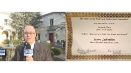 Steve Lubetkin, left, reporting from the Albert Anastasia House in Fort Lee, NJ, left, and SPJ New Jersey Award Certificate