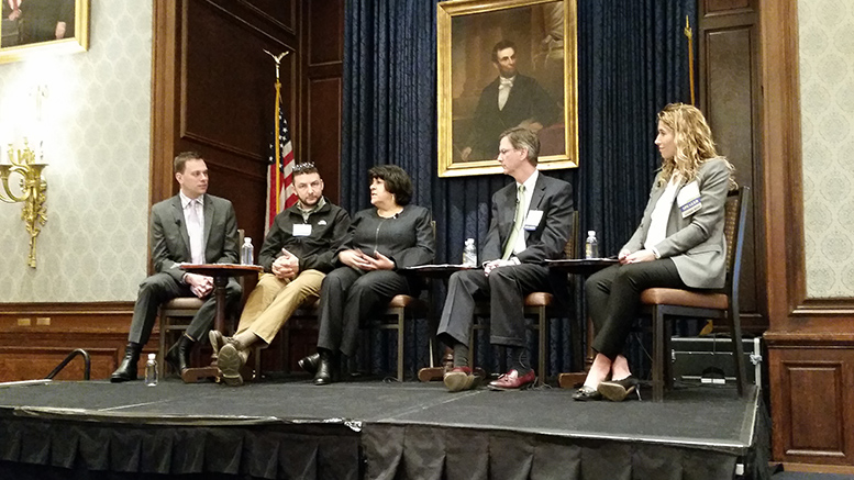 ULI Philadelphia Innovation Panel, from left: Brian Selander, entrepreneur in residence at SeventySix Capital; Stas Gayshan, Cambridge Innovation Center managing director; Anne Papageorge, vice president of facilities and real estate services, University of Pennsylvania; Joe Reagan, senior vice president for development, Wexford Science + Technology; and Lindsey Scannapieco, managing partner, Scout Ltd., a collective of urban design professionals. (Steve Lubetkin Photo/StateBroadcastNews.com. Used by permission)
