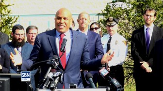US Sen. Cory Booker (D-NJ) speaking at the Katz JCC in Cherry Hill March 6.