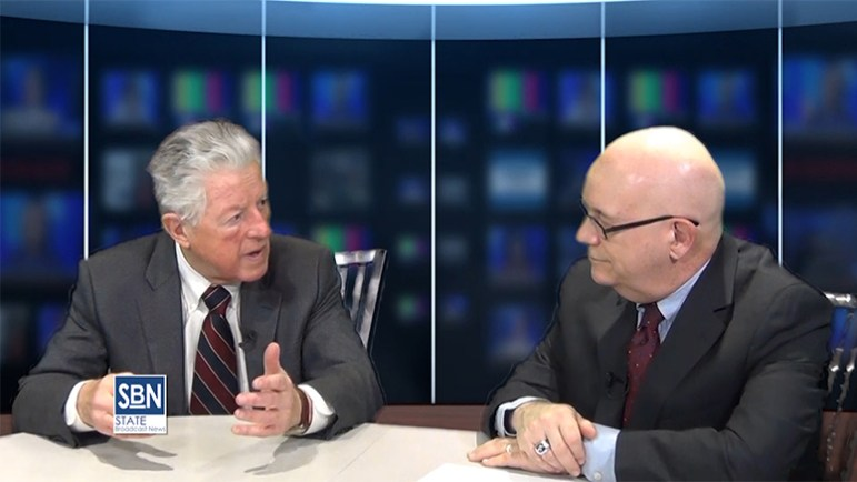 Former NJ Gov. James J. Florio in the SBN TV studios with news director Steve Lubetkin