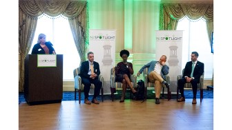 Hamilton, NJ, USA - Friday May 11, 2018: Panelists speaking at the NJSpotlight Roundtable on Marijuana Legalization, May 11, 2018. From left: Lee Keough, editor-in-chief, NJSpotlight, moderator; William J. Caruso Esq., Archer & Greiner; Dianna Houenou, policy counsel, American Civil Liberties Union of NJ; Frank J. Greenagel II, representing NJ Responsible Approaches to Marijuana; and Dustin McDonald, vice president, government relations, Weedmaps. (Steve Lubetkin Photo/State BroadcastNews)