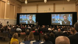 Audience at New Jersey Future Smart Growth Awards in Newark, NJ, watches a video about one of the award winners.