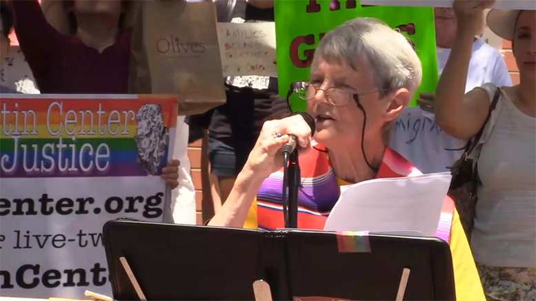 """One of the speakers at the Princeton, NJ, """"Families Belong Together"""" protest June 30 was Rev. Carol Haag of the Unitarian Universalist Congregation of Princeton"""