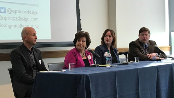 "Panelists at the ""Missing Middle Housing"" program held Oct. 12, 2018 at Drexel University were, from left: Daniel Parolek of Berkeley, CA-based Opticos Design; Sarah Peck of Progressive New Homes, Malvern, PA; Kara Kneidl of 5th Square; and Kevin C. Gillen, Ph.D., senior research fellow at the Lindy Institute for Urban Innovation at Drexel University"