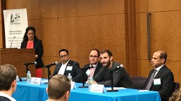 CRE panelists at the Center City Proprietors Association seminar, Philadelphia Nov. 2, from left: Moderator Lauren Gilchrist of JLL; John Chin, Philadelphia Chinatown Development Corporation; Ori Feibush, OCF Realty; Aaron Smith, MMPartners; B. Scott Zuckerman, Domus