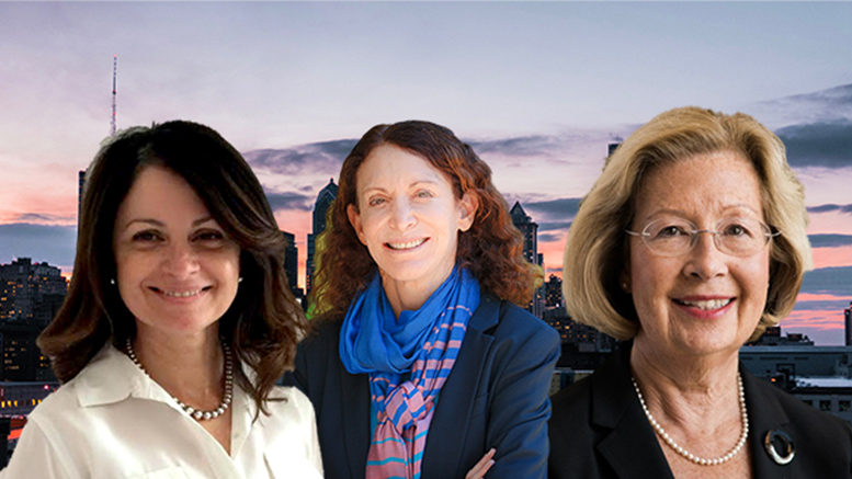 Three of the women honored by CREW Philadelphia for their leadership are, from left: Maria Gonzalez, president of the Hispanic Association of Contractors and Enterprises; Jane Golden, executive director of the Philadelphia Mural Arts program; and JoAnn Magnatta, senior vice president, of facilities design and construction and real estate, Main Line Health (Photo composite)