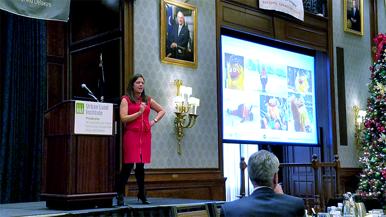 Lauren Gilchrist, senior vice president for research at Jones Lang LaSalle, at the Urban Land Institute's Real Estate Outlook, Nov. 29, in Philadelphia (Steve Lubetkin Photo/SBN)