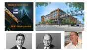 Topics of this week's CRE News Hour include (clockwise from upper right): Rivet 2 at New Jersey City University; Todd Scheffler of Colliers International, and James Goettsch and James Zheng of Goettsch Partners Chicago.