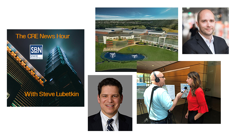On the 8/2/2019 CRE News Hour, guests are (clockwise from upper right): Nathan Kivi, CEO of HotelierCo, offering investments in hotels for small investors; a tour of The Discovery Labs, a redeveloped research facility near Philadelphia, with Audrey Greenberg, CFO of MLP Ventures; and Kevin Matz, tax partner at the law firm Stroock, about qualified opportunity zone fund investments