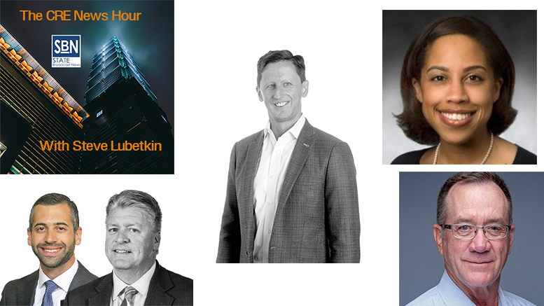 On the 8/30 CRE News Hour, clockwise from top: Avison Young's new chief innovation officer, John Sikaitis; JLL Managing Director Maggie Coleman; Mike Mullin, president of Integrated Business Systems; John Delaveris of KeyBank and Joe Mulligan of Cain Brothers.