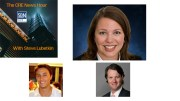 Guests on the 9/20/2019 CRE News Hour are (clockwise from top): CBRE's Jaclyn Fitts; JLL's Bo Bond, and Brock Strasbourger of coworking company Convene