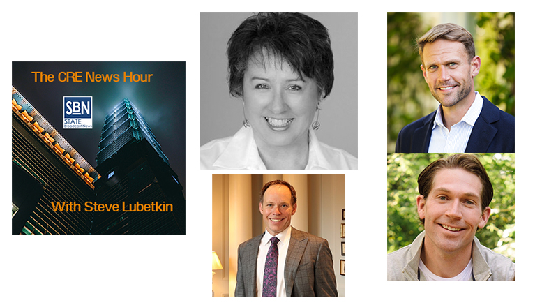 This week's CRE News Hour guests are (clockwise from top): Kathy Craft of Nelson Worldwide; William and Stephen King of Imbrex; and Clark Machemer of Crow Holdings Industrial