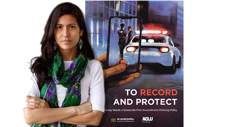 """Tess Borden, staff attorney with the American Civil Liberties Union of New Jersey, with the ACLU's new brief, """"To Record and Protect,"""" urging New Jersey's attorney general to establish a First Amendment Policing Policy."""