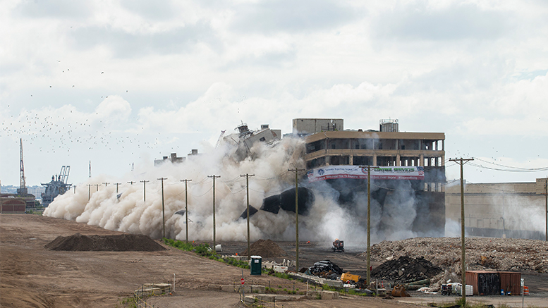 Implosion of two warehouse buildings at Military Ocean Terminal, Bayonne, NJ (Jin Lee Photo/Lincoln Equities Group)