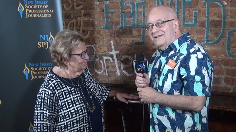 SBN News Director Steve Lubetkin interviews State Sen. Loretta Weinberg at the Journalism Awards Gala July 28 in New Brunswick, NJ