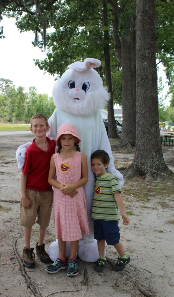Three kids with the Easter Bunny