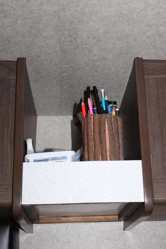 Office Shelf with supplies on it
