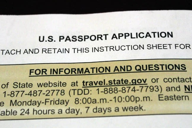U.S. Passport Application.