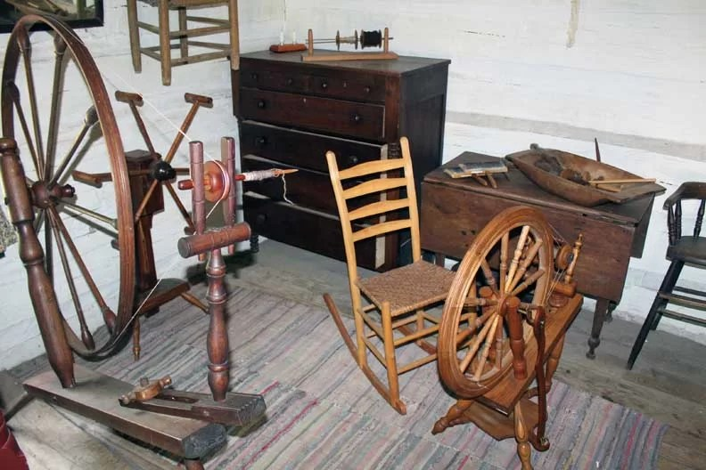 Old furniture and sewing impliments.