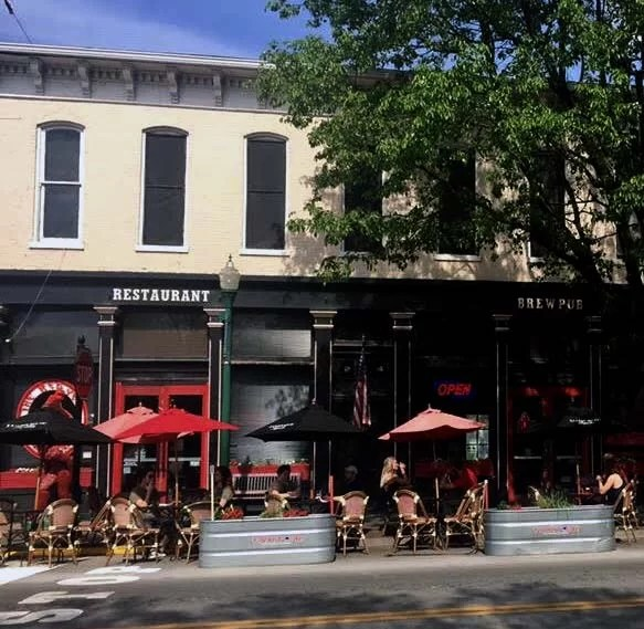 The outdoor seating at the Red Yeti is perfect for relaxing after all your exploring.