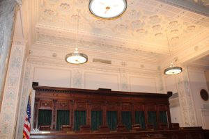 The bench the justices sit at in the Supreme Court