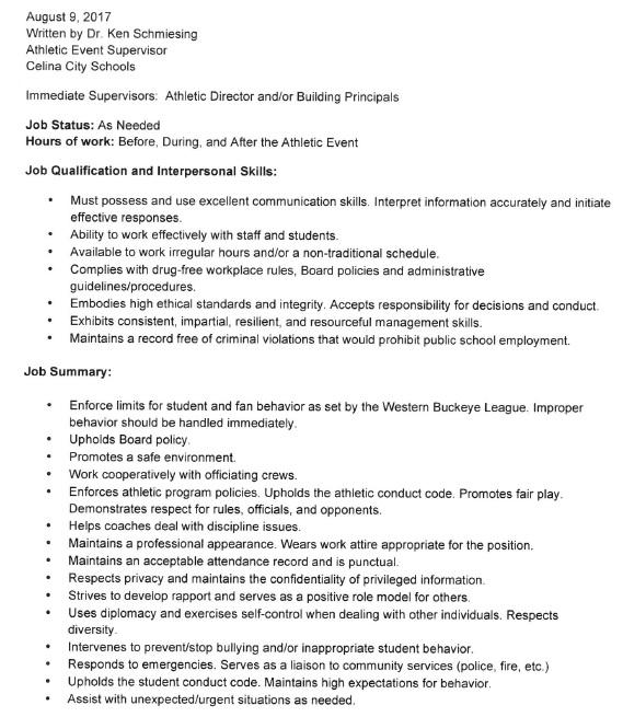 Celina Board To Consider Athletic Event Supervisor Job Description ...