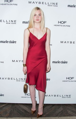 WEST HOLLYWOOD, CA - APRIL 08: Actress Elle Fanning arrives at the Marie Claire's Fresh Faces Party at Soho House on April 8, 2014 in West Hollywood, California. (Photo by Valerie Macon/Getty Images)