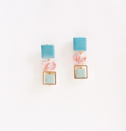 Marble and Malachite Dangling Earrings