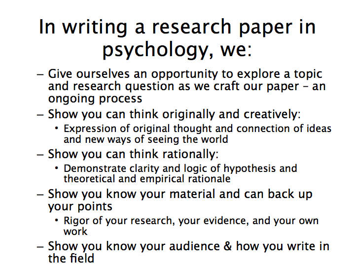 Writing A Psychology Research Paper Slideshow Writing Across The
