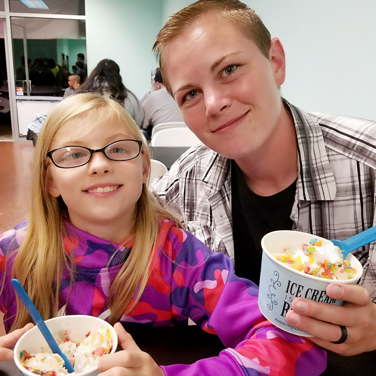 Ferg and kids at 22 below rolled ice cream