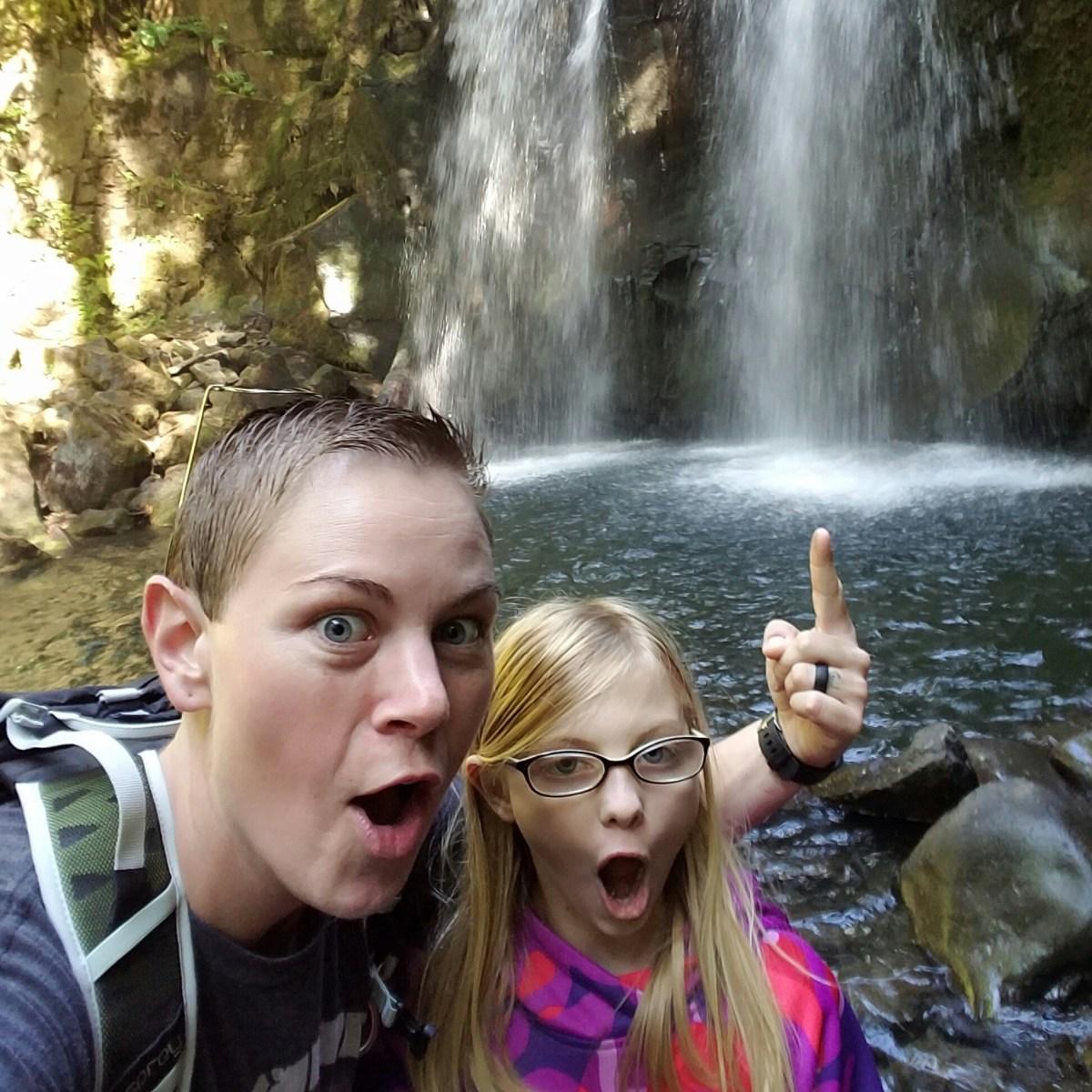 ferg and kids at mcdowell creek falls