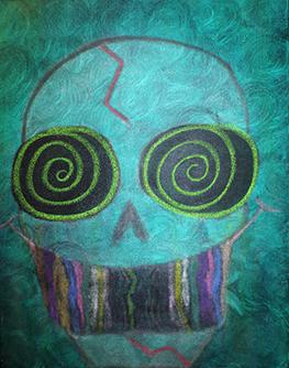 Trippy (oils, acrylics, chalks on canvas 16 x 20 x .75)