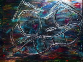 Shades of Angx (oils, acrylics on canvas 24 x 18 x .75)