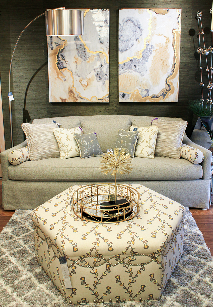 custom living room furniture gray and blue ideas eclectic interior design in the quad couch with varying pillows fabric covered ottomon circular tray metallic decor piece feel modern