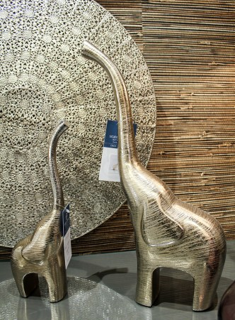 Metallic home decor elephants - mom and baby