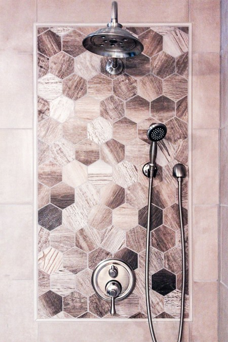 Shower Design for Bathroom remodeling project includes beautiful wood looking honeycomb tiles