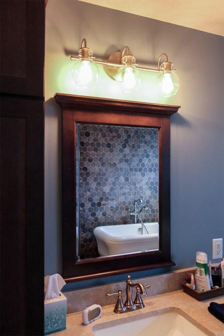 Dark Wooden Mirror Vintage Lamp for Bathroom Interior Design