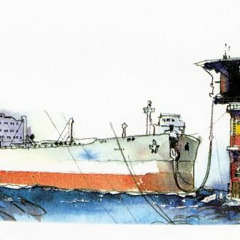 Lastebøye på plass, forsidebilde, historie, Oljehandel, Bøyelasting eller oljerør,