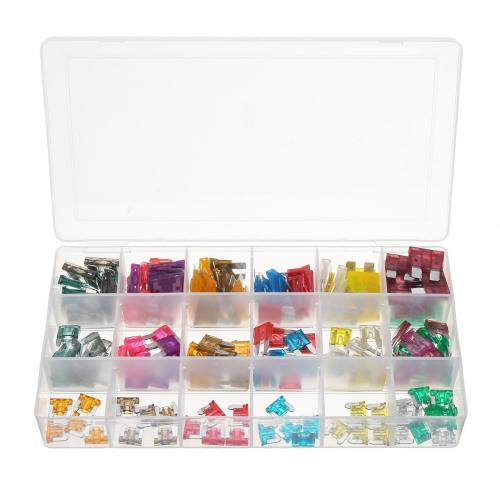 small resolution of 165pcs mini low blade fuse assortment kit box 1 40 amp for auto car motorcycle