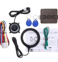 1 car engine push starter host 1 push start stop button 1 rfid sensor ring 2 rfid line 1 installation wire 1 english user manual [ 1000 x 1000 Pixel ]