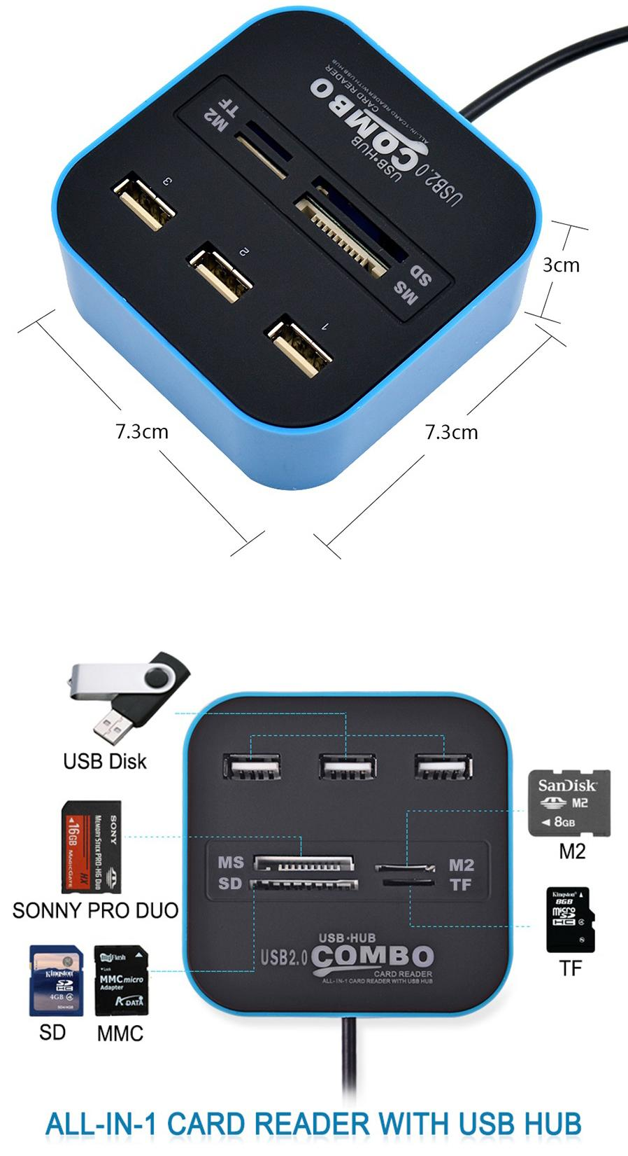 Image result for All-In-One USB 2.0 Hub / Card Reader